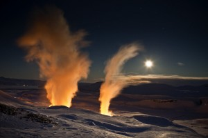 Steam rising from bore holes at Nesjavellir Geothermal Power Plant in Iceland